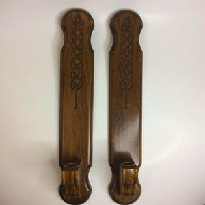 Vintage Wood Wheat Carving Candle Wall Sconces
